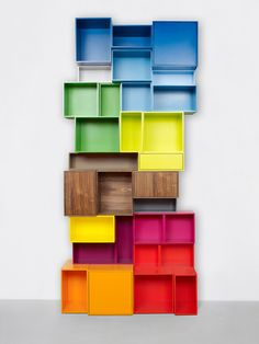 Colorful boxes assembly chaotic & individual shelfsystem #books #colour @Cindy Jain