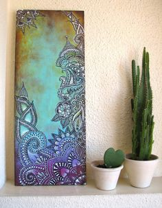 Beautiful pic on canvas. Saving for late ideas Mandala Art, Art Painting, Art Projects, Painting Inspiration, Painting, Art, Abstract, Diy Art, Canvas Painting