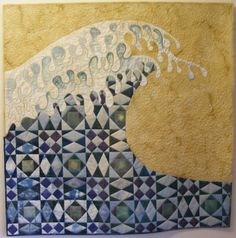 """Pretty spectacular """"Big Wave"""" quilt by Linda Kemshall."""