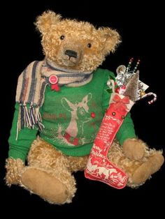 A Teddy Bear ,with his stocking , at Christmas.
