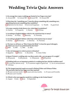 This is a free printable game for bridal shower, called wedding Trivia Quiz. There are 11 different wedding related questions with multiple choices. Printable Bridal Shower Games, Wedding Shower Games, Bridal Shower Party, Wedding Games, Bridal Showers, Wedding Trivia, Wedding Mc, Wedding With Kids, Wedding Things
