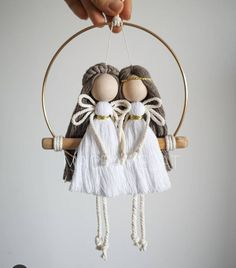 Rope Crafts, Yarn Crafts, Bead Crafts, Weaving Projects, Macrame Projects, Macramé Angel, Home Decor Christmas Gifts, Wool Dolls, Handmade Angels