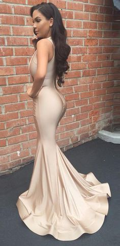 f07ccac3e904 Sexy Mermaid Champagne Satin V-Neck Prom Dress Custom Made Long Evening  Gowns Fashion Formal Party Dresses PD454