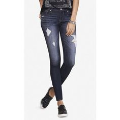 Express Dark Distressed Mid Rise Jean Legging ($80) ❤ liked on Polyvore featuring pants, leggings, blue, short leggings, white pants, jeggings leggings, distressed jeggings and blue jean leggings
