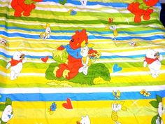 Rare Vintage FUNKY RETRO Winnie the Pooh Fitted Crib Sheet / fabric material