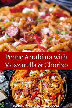 Spicy Sausage Pasta, Spicy Pasta, Italian Sausage Pasta, Italian Pasta Recipes, Smoked Sausage Pasta Recipes, Chicken And Chorizo Pasta, Penne Recipes, Sausage Recipes For Dinner, Chorizo Recipes