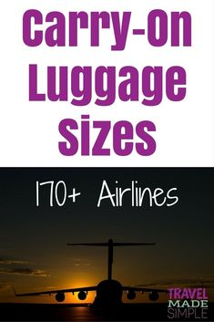 This carry-on luggage size chart provides sizes allowed by more than 170 airlines worldwide plus restrictions such as number of items and weight allowed. Find the right carry-on size luggage for your travels! #packing #luggage #airlines #traveltips