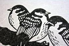 Linocut Print.  Linocut Birds.  Birds Print. Printmaking. TheLinoPrintShop