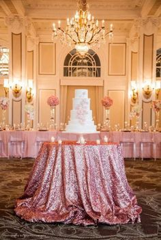 glitter table cloth for the cake and wedding party table