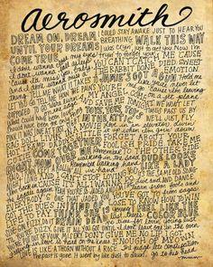 Aerosmith Lyrics and Quotes 8x10 handdrawn and by mollymattin