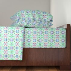 Langshan Sheet Set featuring Dreamy Floral Fantasy Terrace Tiles on Pale Blue by rhondadesigns | Roostery Home Decor