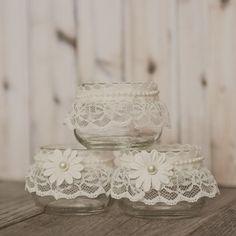 Lace votives wedding centerpieces lace wedding by StyleJarsandCans, $19.00