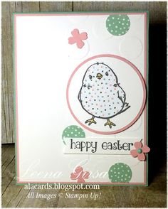 handmade Easter card from A La Cards ... circle theme including embossing folder, punched circles and polka dots ... luv the fun look of the paper pieced chick ... Stampin' Up!