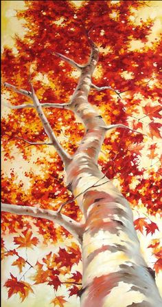 Ivan Alifan Jdanov - Arte y Pinturas Fall Tree Painting, Acrylic Painting Trees, Shadow Painting, Knife Painting, Acrylic Art, Canadian Painters, Autumn Trees, Autumn Leaves, Tree Art
