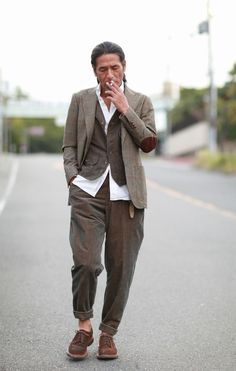 Jacket/pants/shirt- Mitsuru Strano Vest- original vintage style shoes: brunello cucinelli