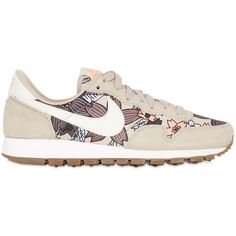 NIKE Air Pegasus 83 Nylon & Suede Sneakers - Khaki/Multi ($120) ❤ liked on Polyvore featuring shoes, sneakers, nike sneakers, nylon shoes, nike, suede sneakers i khaki shoes