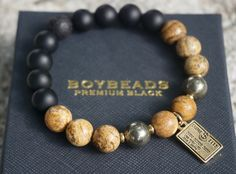 """001"" ""Reid"" BOYBEADS Custom 10mm Jasper, Pyrite, Onyx Credit Card Shopping Mens Beaded Bracelet - BOYBEADS"