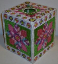 SUMMER POSIES - Beautiful Boutique Size Tissue Box Cover - Needlepoint on…