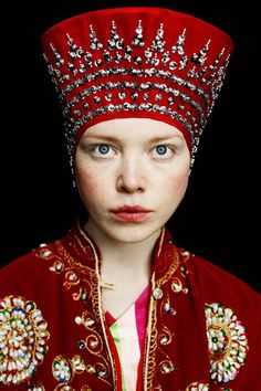 Model in a Russian kokoshnik headdress, art photograph.