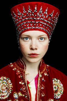 Model in a Russian kokoshnik headdress, art photograph.
