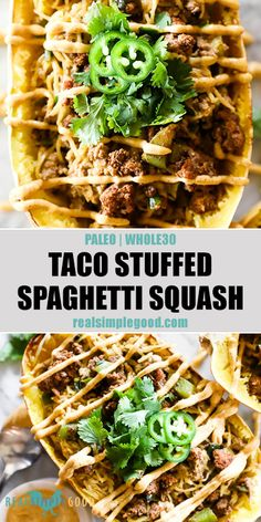 Filled with your favorite mexican flavors and topped with a creamy chipotle lime aioli sauce, this taco stuffed spaghetti squash recipe is a fun one for the whole family. Easy and healthy, you'll love Easy Whole 30 Recipes, Paleo Recipes Easy, Dairy Free Recipes, Pork Recipes, Mexican Food Recipes, Real Food Recipes, Whole30 Recipes, Dinner Recipes, Dinner Ideas