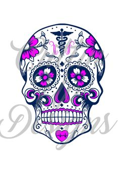 Nurse Doctor CNA Medical Sugar Skull. SVG Cutting file for Cricut or Cameo (Designer Edition) Easy to cut and easy to layer. Super cute! by CuttinUpGifts on Etsy