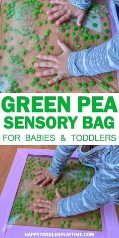 Green Pea Sensory Bag | HAPPY TODDLER PLAYTIME Check out this easy green pea sensory bag idea! The peas dance and bounce with every touch. It's so mesmerizing to watch! #toddleractivities #sensoryplay
