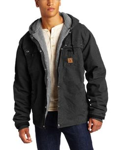 Amazon.com: Carhartt Mens Big & Tall Sandstone Hooded Multi Pocket Jacket - Sherpa Lined: Clothing