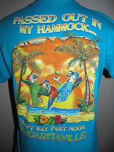 95c79357387e Jimmy Buffet Margaritaville T Shirt M Teal Passed Out in My Hammock Parrots