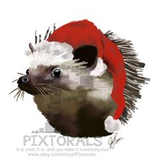 Hedgehog in a Sleepy Santa Hat Clipart Christmas by Pixtorals