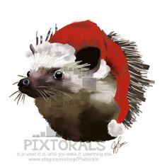 Hedgehog in a Sleepy Santa Hat Clipart Christmas by Pixtorals