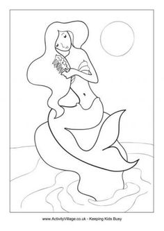 Mermaid Colouring Page 1