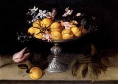 Fede Galizia, Still life of peaches, jasmine, and a spray of hyacinth in a metal fruit stand, with tulips and hazelnuts. Judith And Holofernes, Noli Me Tangere, Female Painters, Religious Paintings, Fruit Stands, Fruit Painting, Caravaggio, Italian Artist, Old Master