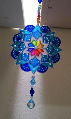 Glass Painting Designs, Dot Art Painting, Stained Glass Designs, Mandala Drawing, Mandala Painting, Cd Crafts, Diy And Crafts, Diwali Decoration Lights, Canvas Art Projects