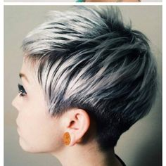 30 Short Ombre Hair Options for Your Cropped Locks in 2019 short black pixie with ash blonde balayage – Farbige Haare Short Silver Hair, Silver Ombre Hair, Ombre Hair Color, Gray Ombre, Hair Colors, Silver Blonde, Gold Hair, Short Pixie Haircuts, Pixie Hairstyles