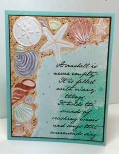 Darice Shell Corner embossing folder and Verses sentiment stamp.  Created by Christine Fichtner.