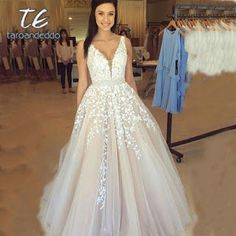 Princess Prom Dresses, A-Line V-Neck Sweep Train Champagne Tulle Prom Dress with Appliques Beading, Plus Size Formal Dresses and Plus Size Party Dresses are great for your next special Occassion at cheap affordable prices The Dress Outlet. Straps Prom Dresses, V Neck Prom Dresses, V Neck Wedding Dress, Backless Wedding, Tulle Prom Dress, Lace Evening Dresses, Long Wedding Dresses, Cheap Prom Dresses, Bridal Dresses