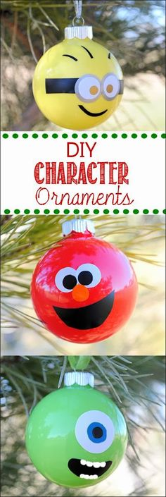 Minion Elmo and Mike Wazowski Christmas Ornaments