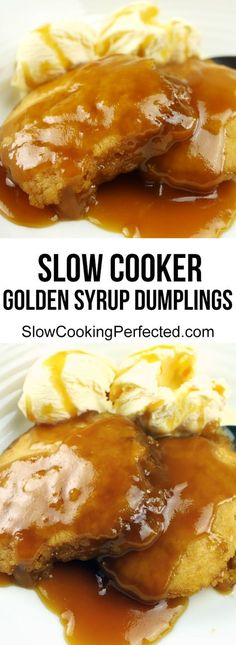 Deliciously Sweet Slow Cooker Golden Syrup Dumplings - Slow Cooker - Ideas of Slow Cooker Slow Cooker Pressure Cooker, Crock Pot Slow Cooker, Crock Pots, Slow Cooker Recipes Dessert, Crockpot Recipes, Dessert Recipes, Dessert Ideas, Golden Syrup Dumplings, Sweet Dumplings