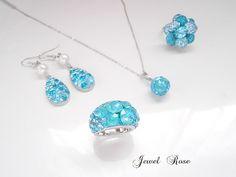 Cameria ring ~ocean blue・グルーデコ | ハンドメイドマーケット minne Handmade Accessories, Clay Jewelry, Swarovski, Ocean, Drop Earrings, Crystals, Deco, Blue, Drop Earring