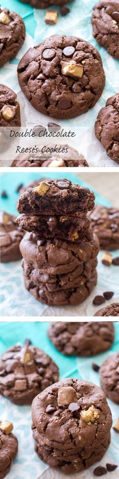These thick and chewy double chocolate chip cookies are packed with Reese's peanut butter flavor! They're killer.   www.alattefood.com