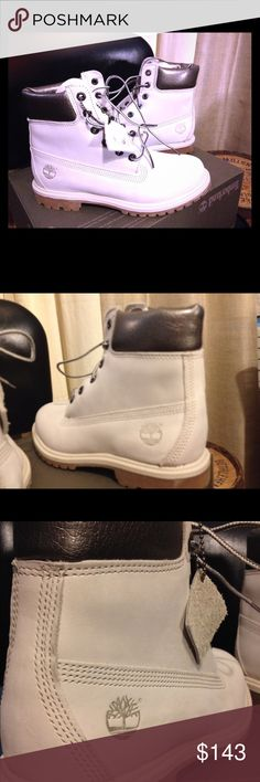 Timberland Off White Classic Construction boots AF 6inch premium waterproof boots. Nubuck suede. Soft metallic leather collar w timb tag. Timberland Shoes Ankle Boots & Booties