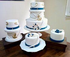 Composê de bolos para festa de ursinho marinheiro.