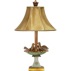 Table lamp with a bathing birds design.    Product: Table lamp    Construction Material: Metal, fabric and composite w...