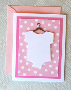 Baby Card - Baby Shower Card for Girl - New Baby Card - Baby Shower Thank You Cards - Polka Dots - 3D - White Onesie - Pink. $3.99, via Etsy.