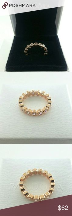 Pandora Rose Gold Alluring Brilliant Ring 5 6 7 Pandora Rose Gold Alluring Brilliant Ring 180942CZ Size 5, 6,7 ,7.5, 8.5    Part of Rose gold collection  New and never used   % 100 authentic  R/ale hallmark stamps on it   Official Pandora black velvet box with purchase  If you interested in another item on my list please ask me, I do combine     Enjoy shopping Jewelry Rings