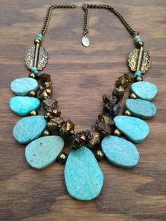 Amazonite statement necklace crystals boho by FeatherTalesDesigns