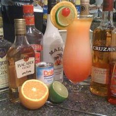 Texas Hurricane: Gold Rum, Coconut Rum, Vodka, Gin, 1 Triple Sec, Orange Juice, Pineapple Juice, Grenadine Syrup, Rum (151 Proof), Orange Slice, Lime Slice, Maraschino Cherries.