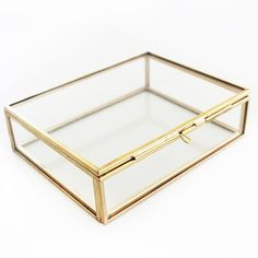 Velvet Glass Jewelry Ring Earring Display Organizer Box Holder