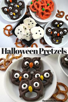 Halloween Pretzels are easy, fast and fun to make! Adorable chocolate dipped treats for kids and adults. #themondaybox #halloween #halloweenideas #halloweenparty #halloweensnacks
